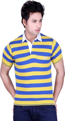 Dezyn Striped Men's Polo Neck Yellow, Blue T-Shirt