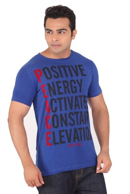 Radbone Printed Men's Round Neck Blue T-Shirt