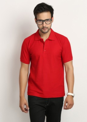 Larwa Solid Men's Polo Neck Red T-Shirt