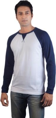 Vagga Solid Men's Round Neck White, Blue T-Shirt
