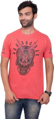YOUTH & STYLE Printed Men's Round Neck Red T-Shirt