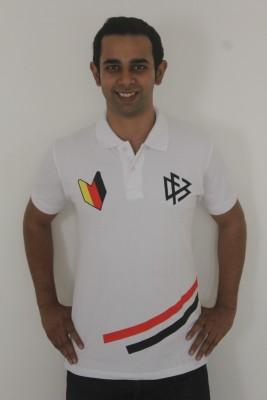 642 Stitches Printed Men's Polo White T-Shirt