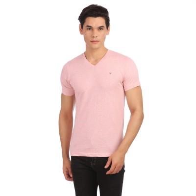 Neva Solid Men's V-neck Pink T-Shirt