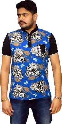 Navratna Nxt Printed Men,s Flap Collar Neck Blue T-Shirt