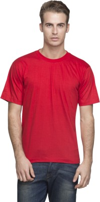 Lambency Solid Men's Round Neck Red T-Shirt