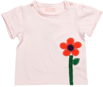 JusCubs Self Design Baby Girl's Round Neck Pink T-Shirt