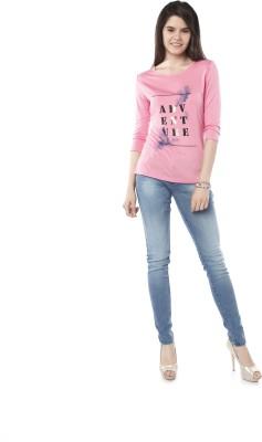 Miss Pink Solid Women's Round Neck Pink T-Shirt
