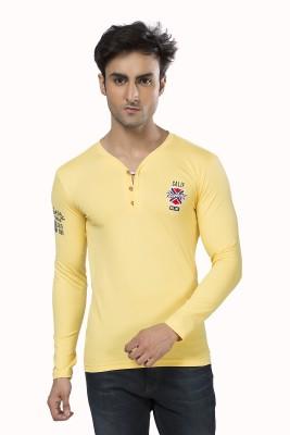 Purple Haze Printed Men's Henley Yellow T-Shirt
