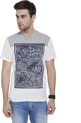 Slub By INMARK Floral Print Men's Round Neck Beige T-Shirt