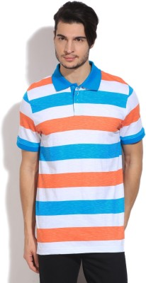 Puma Striped Men's Polo White, Orange T-Shirt