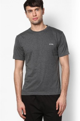 Happy Hours Solid Men's Round Neck Grey T-Shirt