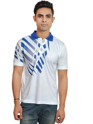 Set Graphic Print Men's Polo Neck White, Blue T-Shirt