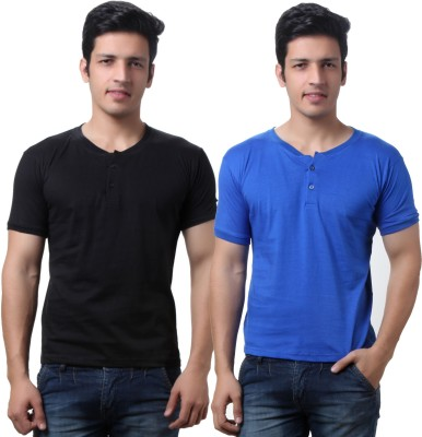 TeeMoods Solid Mens Henley Black, Blue T-Shirt