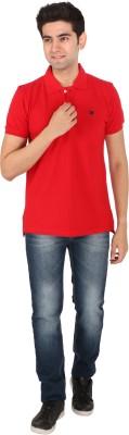 Tasho Zaara Solid Men's Polo Neck Red T-Shirt
