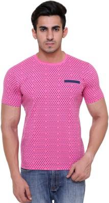 FREE RUNNER Printed Men's Round Neck Pink T-Shirt