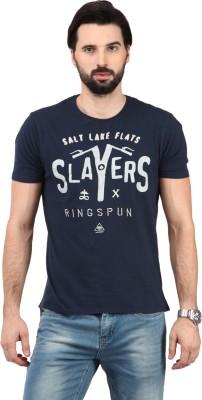 Ringspun Printed Men's Round Neck Blue T-Shirt