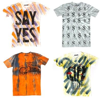 Burnout Printed Men's V-neck Multicolor T-Shirt