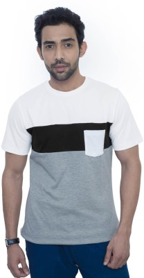 Fabnavitas Striped Men's Round Neck White T-Shirt
