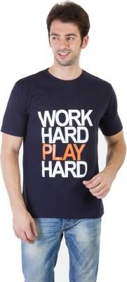 RICK AND MASCH Printed Men's Round Neck Blue T-Shirt