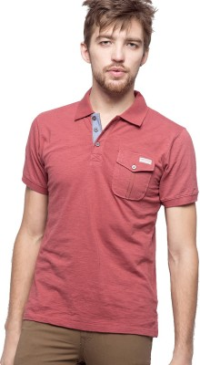 American Swan Solid Men's Polo Neck Red T-Shirt