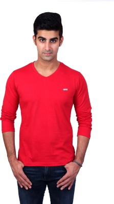 Bridge Solid Men's V-neck Red T-Shirt