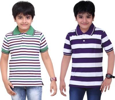 Dongli Striped Baby Boy's Polo Neck White, Purple T-Shirt