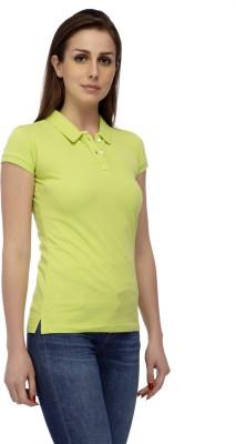 Manola Solid Women's Polo Neck Light Green T-Shirt