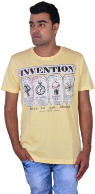 IPG Printed Men's Round Neck Yellow T-Shirt