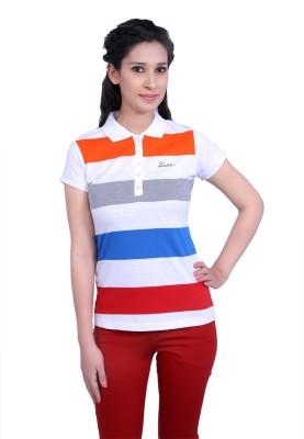 Duke Stardust Casual Short Sleeve Striped Women's White Top