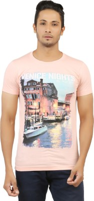 LEVELS Printed Men's Round Neck Pink T-Shirt
