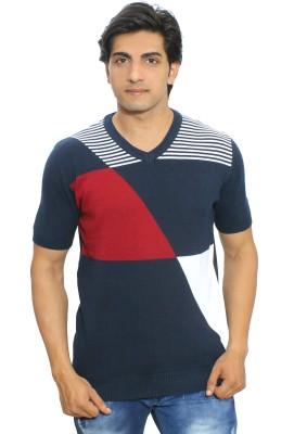 Thread Craft Graphic Print Men's V-neck Blue, White T-Shirt