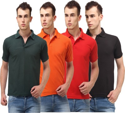 Lime Solid Men's Polo Neck Dark Green, Orange, Red, Black T-Shirt