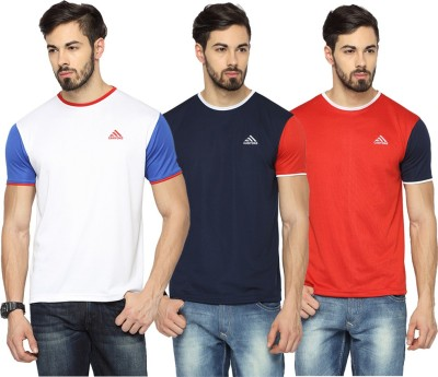 Canyons Solid Men's Round Neck White, Dark Blue, Red T-Shirt