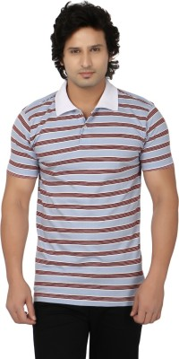 Side Effects Striped Men's Polo Neck Grey, Maroon T-Shirt