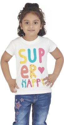 Super Young Printed Girl's Round Neck White T-Shirt