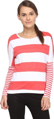 Annapoliss Striped Women's Round Neck White, Red T-Shirt