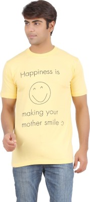Griteez Printed Men's Round Neck Yellow T-Shirt