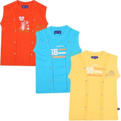 SPN Garments Printed Girl,s Round Neck Orange, Blue, Yellow T-Shirt
