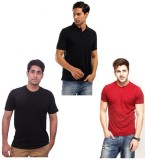 Port Self Design Men's Polo Neck Red T-S...