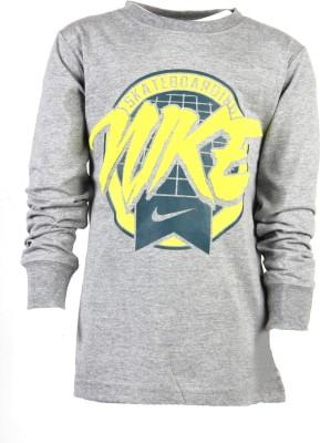 Nike Kids Printed Boy's Round Neck Grey T-Shirt