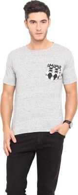 Northern Lights Solid Men's Round Neck Grey T-Shirt