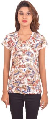 Blueash Paisley Women's V-neck White T-Shirt