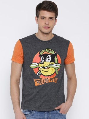 Kook N Keech Disney Graphic Print Men's Round Neck Grey T-Shirt
