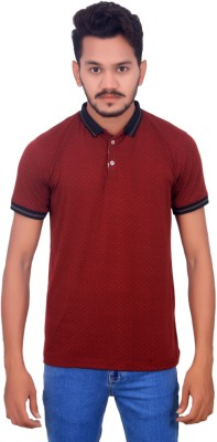 BOMBAY BLUES Printed Men's Polo Neck Maroon T-Shirt