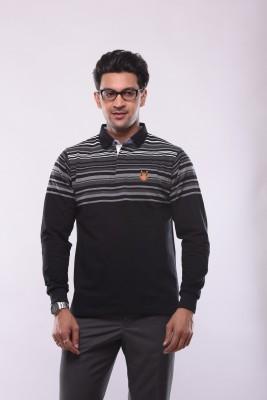 Shayan Export Striped Men's Flap Collar Neck T-Shirt