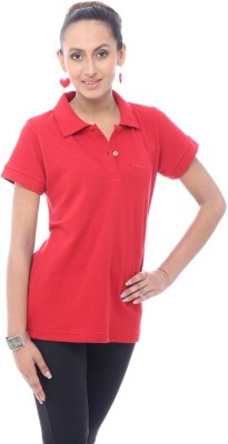 Unicolr Solid Women's Polo Neck Red T-Shirt
