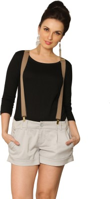 Miss Chase Solid Women's Round Neck Black T-Shirt at flipkart