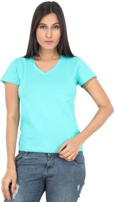 F FASHIONSTYLUS Solid Women's V-neck Light Blue T-Shirt