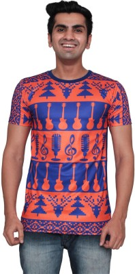 DDI Printed Men's Round Neck Blue T-Shirt