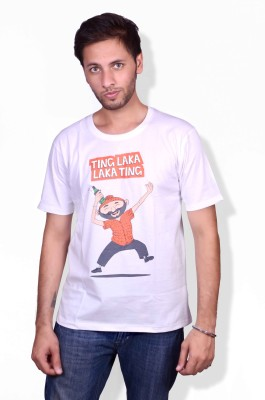 Swadesistuff Printed Men's Round Neck White, Orange, Green T-Shirt